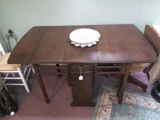 Antique Swedish Gate Leg Drop Leaf Table. . .  Oak Breakfast Or Dining Table photo