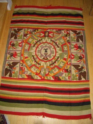 Vintage Mexican Oaxaca Aztec Calendar Wool Blanket photo