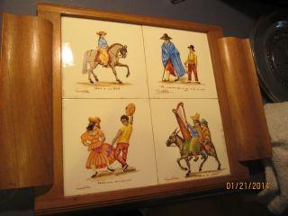 Rare/1850 Antique Signed Framed Tiles (6