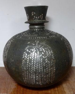 Rare Spherical Mughal Silver Inlaid Bidri Huqqa Hookah Base Deccan,  18th Century photo