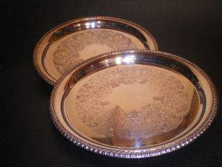 Large Round Silver Plated Trays photo