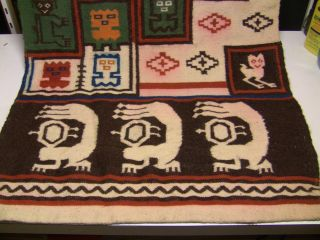Primitive Hand Woven Textile Rug - Scorpions Birds Tribal Indigenous photo