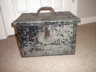 Vintage Metal Antique Industrial Storage Tool Box Steam Punk Crate photo