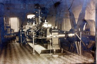 Engine Powering Giant Pulley Cable C.  1910 Sepia Photo Factory Industrial Power photo