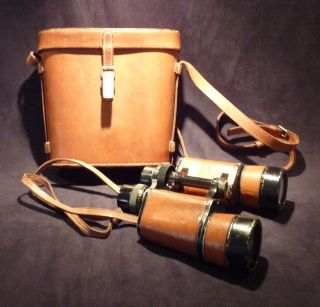 Binoculars Hyppique Metal Jacket Leather Case Caramel Signed Meyrowitz & Hermes photo