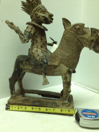 Rare Vintage Benin Bronze King Warrior On Rhinoceros photo