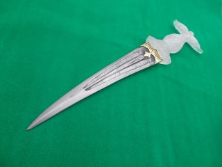 Antique Indo Persian Wootz Blade Mughal Dagger Pure Gold Work Collectible Orignl photo