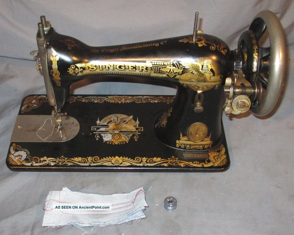 Serviced Antique 1905 Singer 15 - 30 Sphinx Treadle Sewing Machine Works C - Video Sewing Machines photo