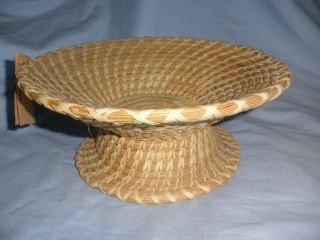 Marked Tohono O ' Odhodam Papago Cone Pedestal Basket Signed Makers Tag photo