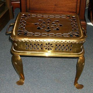 Antique Victorian Brass And Wrought Iron English Fireplace Butler Footman Trivet photo
