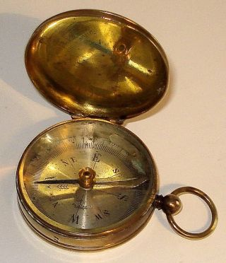 Vintage French Brass Compass With Lid & Fob Ring photo