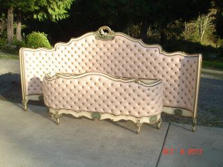 Vtg Italian Rococo Style Pink Tufted Leather Curved Head & Foot Board Cherub photo