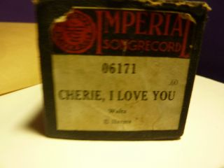 Vintage Piano Roll Imperial 06171 Cherie,  I Love You Harms photo