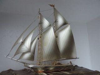 Very Large Vintage Signed 2 Masted Japanese Seki Sterling Silver Yacht Ship Box photo