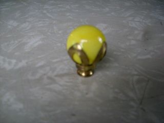 Vintage Yellow Solid Glass Antique Lamp Finial W/solid Brass Base,  3/8