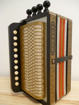 Hohner 114 C One Row 1930s Vintage Cajun Button Accordion With Box photo