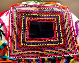 Rare Ethnic Vintage Traditional Colorful Incahuasi Lliclla Manta Blanket Carpet photo