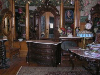 Antique Victorian Mahogany Heavily Carved Dresser Mitchell & Rammelsburg Empire photo