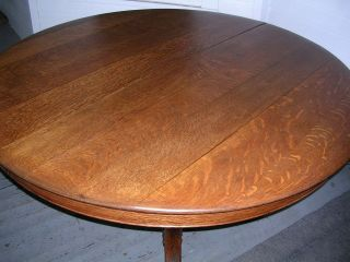 Antique Solid Quartersawn Oak 54 Inch Round Table Carved Pedestal Claw Feet photo