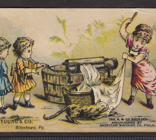Allentown Pa American Machine Wringer Philadelphia Washing Cat Card photo