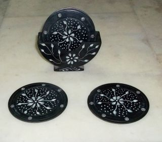 Stone Black Coaster Set photo