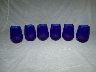 6 Handcrafted Cobalt Blue Libbey Stemless Wine Glasses photo