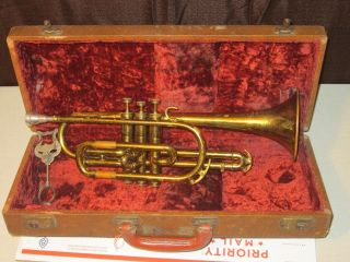 Vintage Martin Indiana Cornet W/ Antique Case & Depose France Note Holder Vtg photo