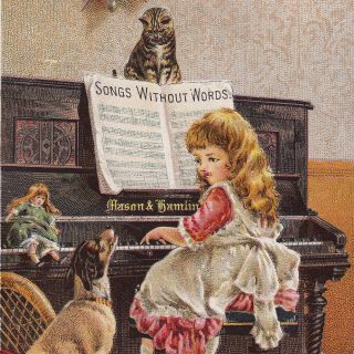 Hollowville Ny Mason & Hamlin Piano Organ Dog Cat Old Victorian Advertising Card photo
