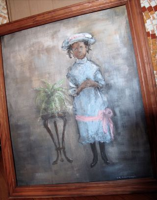 Vintage African American Painting Young Girl Child Ny Artist photo
