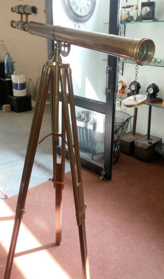 Brass Antique Finish Double Barrel Griffith Astro Telescope With Tripod Stand photo