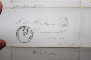 1859 London & Boston Cover Postmark 8 Captain George Mustard Brunwick Maine photo
