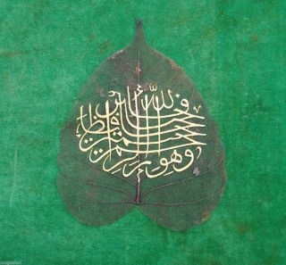 Antique Ottoman Persian Iran Mughal Natural Leaf Islamic Calligraphic photo