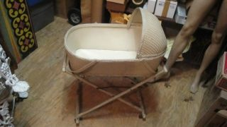 Vtg Redman Victorian Wicker Basket Baby Nursery Bed Crib Cradle Bassinet Collas photo