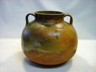 1700/1800 ' S Glazed Earthenware Ethnic Vessel Bean Pot Guatemala 9.  5