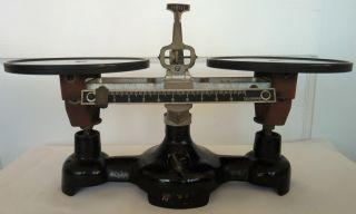 Antique Cast Iron Double Beam Welch Scientific 10 Gram Balance Scale photo