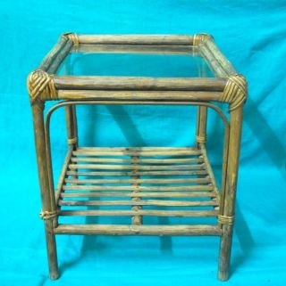 1900 ' S Antique Rare Rattan Bamboo Cane With Glass Top Hand Crafted Tea Table photo