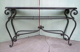 Heavy Wrought Iron Console Table Faux Marble Veneer Mid Century Regency photo