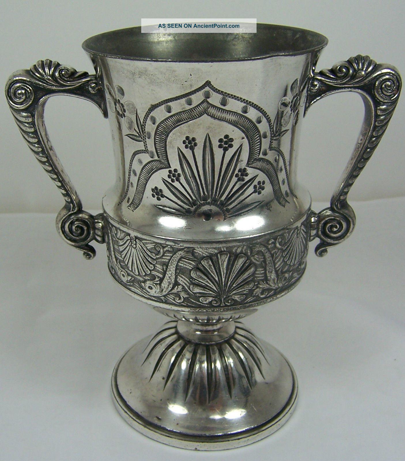 Antique 1800 ' S Meriden Britannia Silver Plate Vase Urn Fish Shell 1464 Pattern Vases & Urns photo