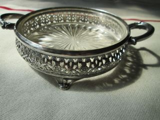 B P Co Epns Silverplate Bm Mounts Candy Dish Footed With Glass Insert Ornate photo