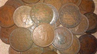 Of 10 All Mix King George Vi One Quarter Anna India Rare Coin photo