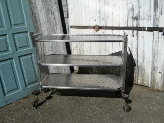 Vtg Industrial Stainless Steel Rolling Kitchen Bar Cart On Casters,  Restaurant photo