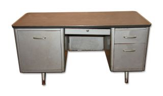 Vintage Industrial Metal Tanker Desk - 1950 ' S photo