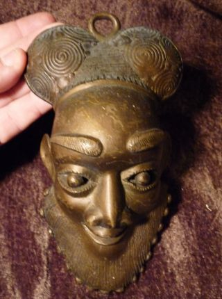 Old Vintage Antique Ashanti Bronze Brass Art African Mask Statue Face Man Tribal photo