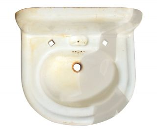 Vintage Old Salvaged Small Wall Mount Rounded Sink photo