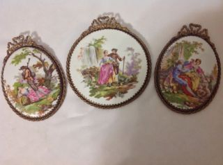 Antique 3 Fr.  Courting Scenes On Tile W/brass Frames; Ea 1900 ' S photo