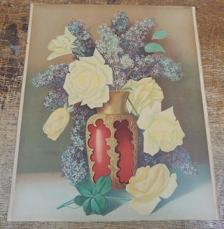 Antique Lithograph Yellow Roses In A Vase 14x17 Inches photo