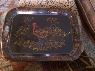 Rare Antique Tole Toleware Tray With Hens photo