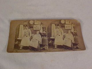 Rare Steroview Card Of The Stage Struck Barber Early 1900s photo