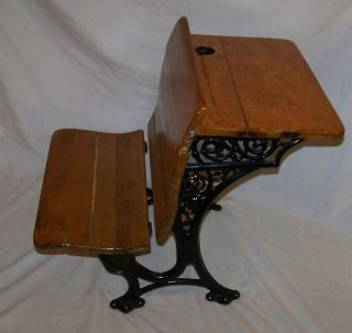 Antique School House Desk Pat 1894 Cast Iron & Wood Buffalo New York Ornate Vgc photo
