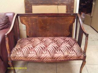 Charming Antique French Settee Intricate Inlay With Cupids photo
